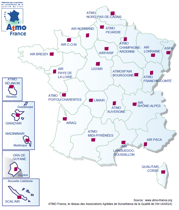 Carte des associations de surveillance de la qualité de l'air en France