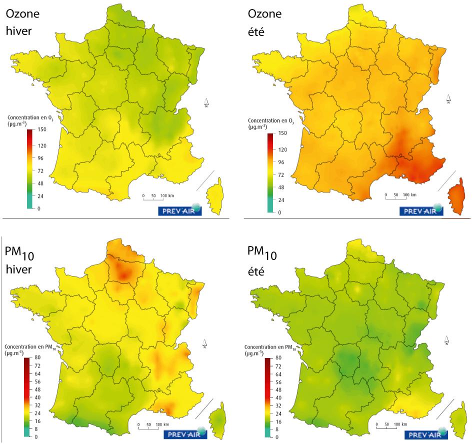 Carte de la cencentration en PM10 et en ozone en été et en hiver