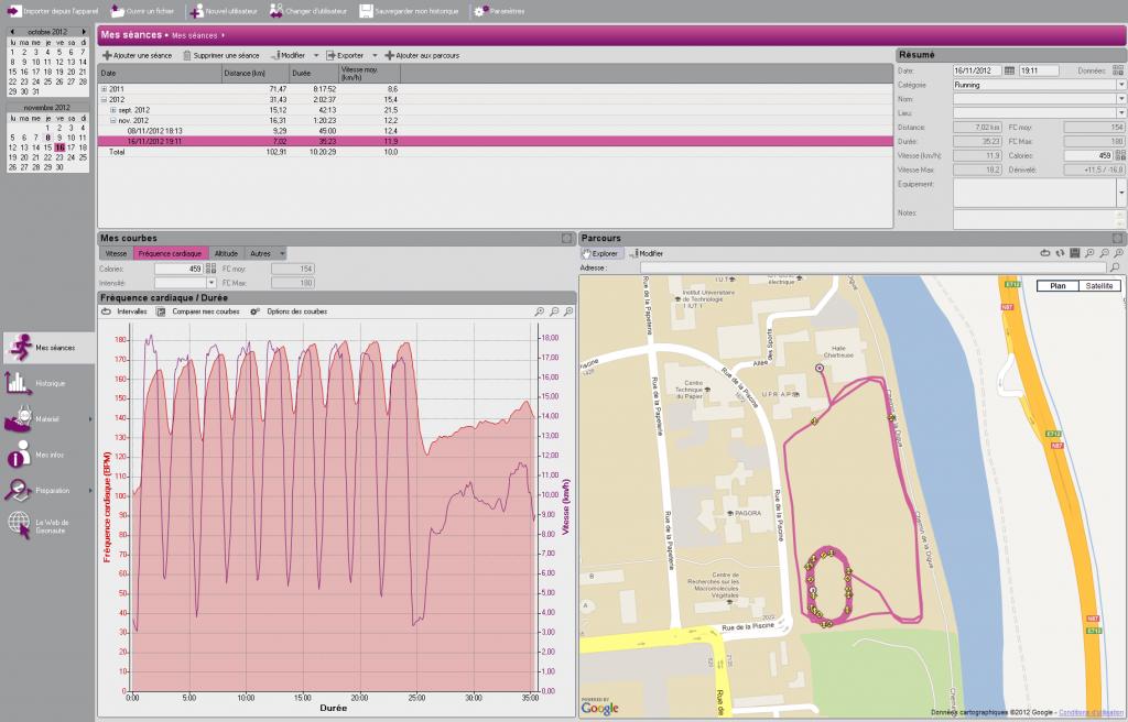 Exemple de séance avec le Geonaute Software, importée à partir d'un fichier .tcx de Garmin 410