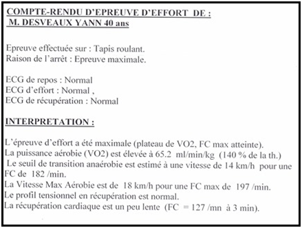resultats test effort course a pied