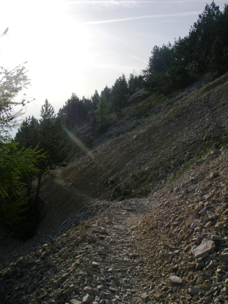 Le sentier devient de plus en plus caillouteux, à mesure que l'on monte.